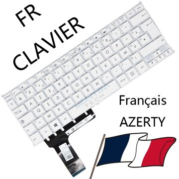 AZERTY Français Keyboard White for Asus VivoBook E202 Computer Laptop
