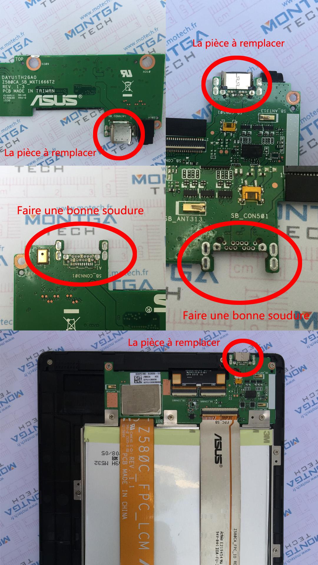 Asus ZenPad Z580CA DC Power Jack Prise Connecteur de charge USB Type C